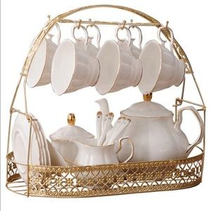 15 Pieces Simple White English Ceramic Tea Sets